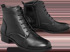 Bottines femme noires cuir confortable à lacets pas cher - Blancheporte