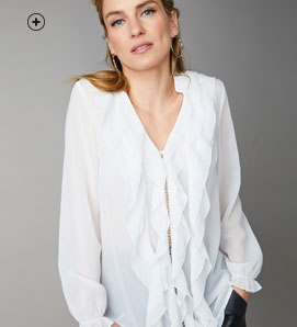 Blouse volantée femme voile blanc col en v manches longues pas cher - Blancheporte