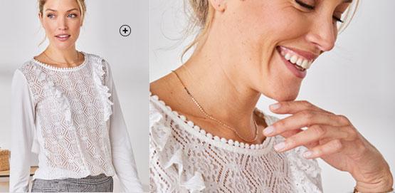 Tee-shirt femme blanc fin motifs ajourés effet dentelle pas cher - Blancheporte