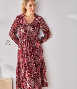 Robe longue volantée à motifs style gipsy pas cher - Blancheporte