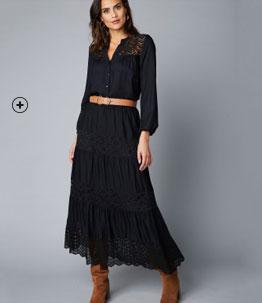 Jupe longue noire taille élastique dentelle pas cher - Blancheporte