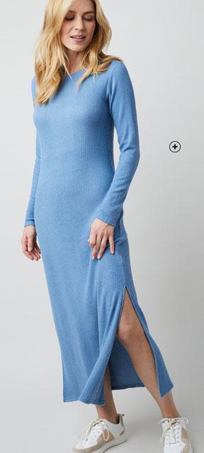 Robe longue en maille fendue pas cher - Blancheporte