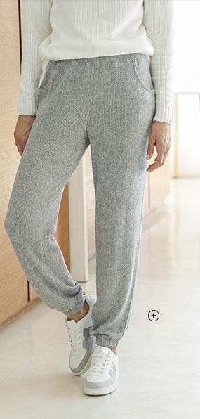 Pantalon de jogging femme gris maille côtelée taille élastiquée pas cher - Blancheporte