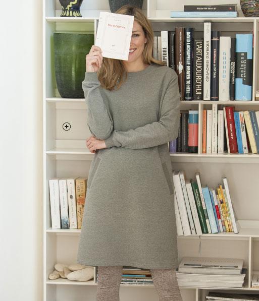 Robe sweat-shirt femme grise molleton coupe droite col rond manches longues pas cher - Blancheporte