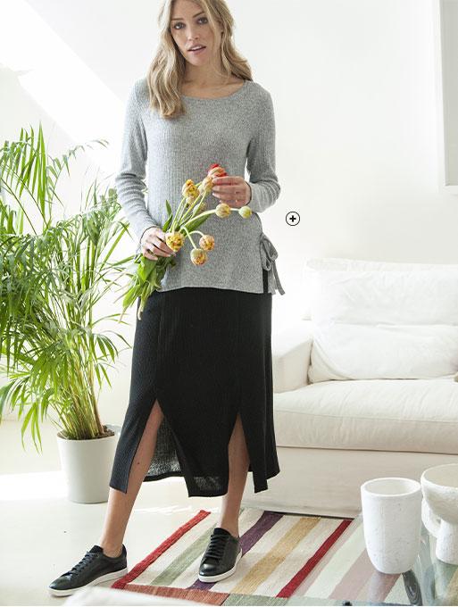 Tee-shirt femme gris maille côtelée avec fentes manches longues col rond pas cher - Blancheporte