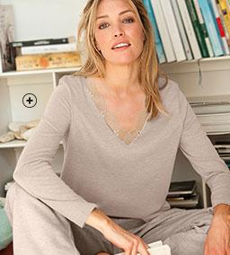 Tee-shirt femme beige col V dentelle manches longues pas cher - Blancheporte