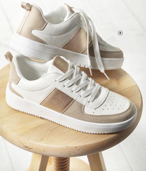 Baskets femme blanche et beige fantaisie plateforme pas cher - Blancheporte