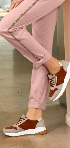 Baskets femme running rouge cuir zippées bimatière pas cher - Blancheporte
