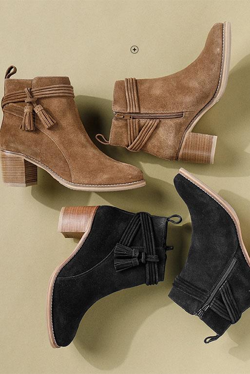 Boots femme croûte de cuir à talon et pompons pas cher - Blancheporte
