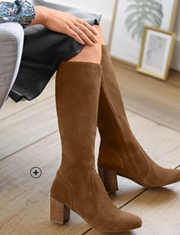 Bottes femme marron à talon croûte de cuir pas cher - Blancheporte