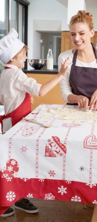 Nappe de table Noël imprimée coeur et flocons pas cher - Blancheporte