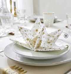 Serviettes de table pré-pliées Noël forme étoiles pas cher - Blancheporte