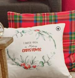 """Housse de coussin déco Noël imprimée """"I wish you a Merry Christmas"""" pas cher - Blancheporte"""