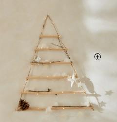 Sapin de Noël mural lumineux à leds en bois et ficelle pas cher - Blancheporte