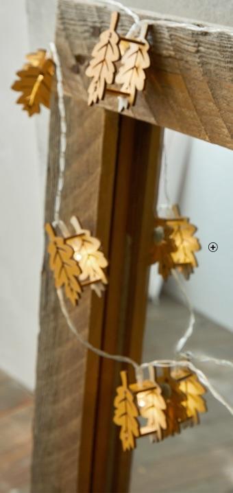 Guirlande lumineuse intérieur Noël à pile feuilles à leds pas cher - Blancheporte
